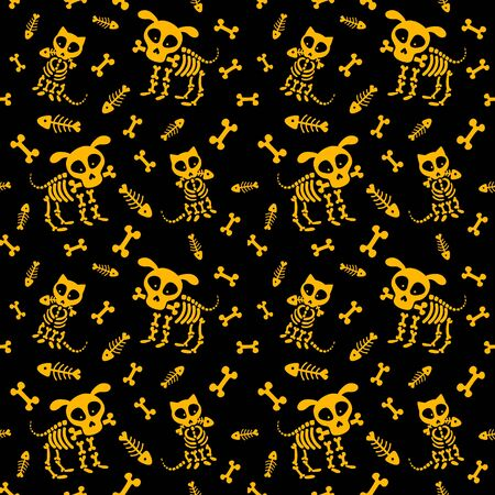 Halloween seamless pattern. Funny skeleton, skull and bones. Vector pattern with dog skeleton and cat skeleton on a black background 向量圖像