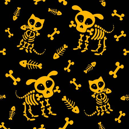 Halloween seamless pattern. Funny skeleton, skull and bones. Vector pattern with dog skeleton and cat skeleton on a black background Stock Illustratie