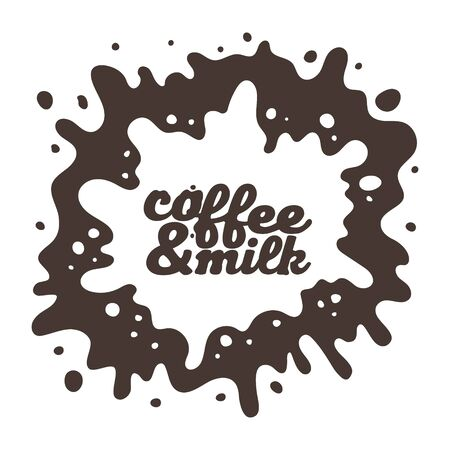 Coffee and milk, spilled blot, coffee spray. Coffee color lettering. Vector design element on a white background.