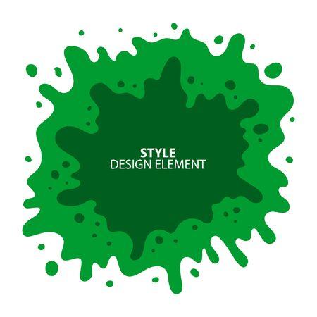 Green slime splash blot. Slime blot isolated on white background. Vector green abstract shape  イラスト・ベクター素材
