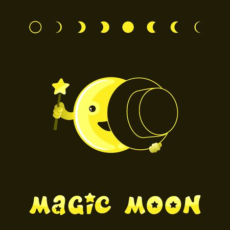 Moon phases, kawaii moon and magic show with magic hat. Cute comic with a waning moon and a waning moon. Illustration