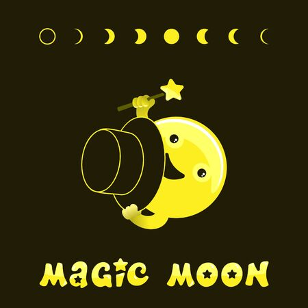Moon phases, kawaii moon and magic show with magic hat. Cute comic with a waning moon and a waning moon. Vector illustration on a black background.