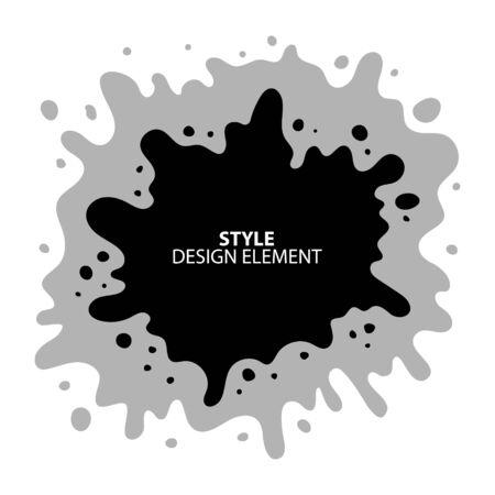 Black ink splatter. Vector blob, black paint.Vector ink spot background. Black and white design element.