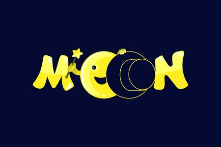 Lettering Moon , kawaii moon and magic show with magic hat. Cute comic with a waning moon and a waning moon. Vector illustration on a black background.