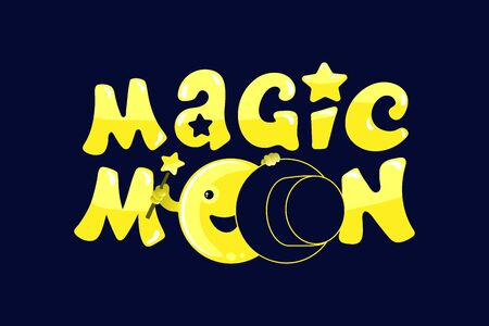 Moon phases, kawaii moon and magic show with magic hat. Cute comic with a waning moon and a waning moon. Çizim
