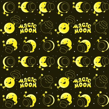 Moon phases, kawaii moon and magic show with magic hat. Cute comic with a waning moon and a waning moon. Seamless moon pattern on black background
