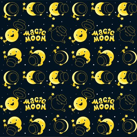 Moon phases, moon and magic show with magic hat. Cute comic with a waning moon and a waning moon. Seamless moon pattern on black background