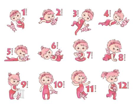 Set of girls. Growth stages from 1 month to 1 year. Little baby girl with pink bow and toy bunny. Stages of child development in the first year of life. Vector Illustration 向量圖像