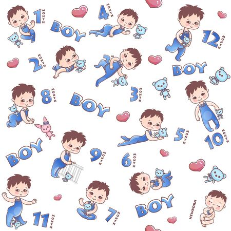 Baby boy seamless pattern. Little baby boy. Stages of child development in the first year of life. Pattern with numbers and boy