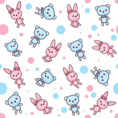 Teddy bear and bunny seamless pattern. 向量圖像