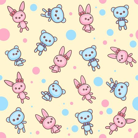 Teddy bear and bunny seamless pattern. Stock Illustratie