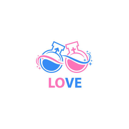 Chemistry of love. Laboratory elixir template logo. vector icons Stock Illustratie