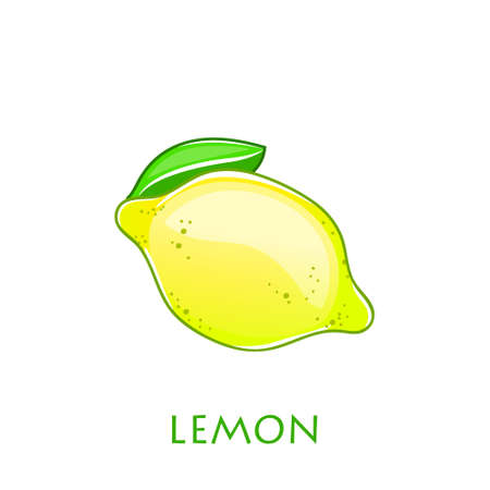 Yellow lemon vector icon illustration isolated on white background. Lemon icon  . Lemon icon clip art.