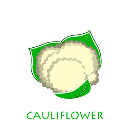 Cauliflower icon in flat style. Isolated object. Cauliflower logo. Isolated object. Vegetable from the garden. Organic food. Vector illustration.