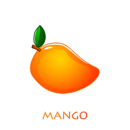 Mango icon in flat style. Isolated object. Mango logo. Vector illustration on white background Stock Illustratie