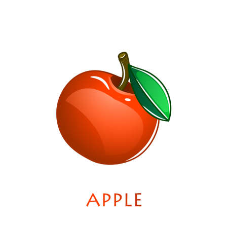 Red apple fruit. Vector illustration cartoon flat icon isolated on white.