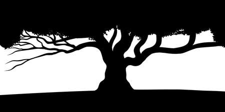 Vector tree silhouette, black and white vectorial shape, Stock Illustratie