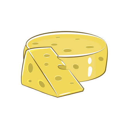 Triangular piece of cheese, cheese icon, cheese food, Vector illustration
