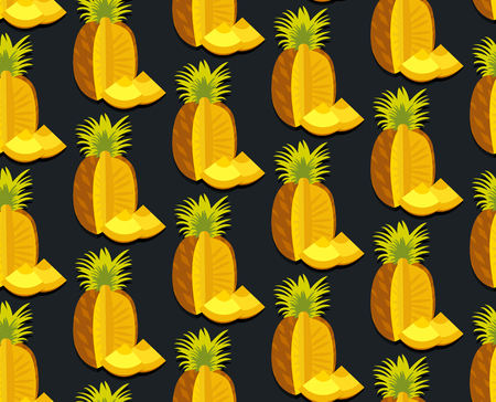 Seamless colorful background with pineapple in flat design. Funny fruit. Cute Seamless Pattern in flat style. Reklamní fotografie - 50432051