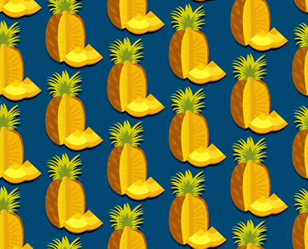 Seamless colorful background with pineapple in flat design. Funny fruit. Cute Seamless Pattern in flat style. Reklamní fotografie - 50432056