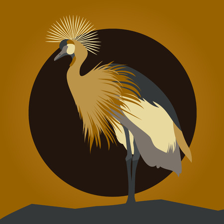 gallant: Beautiful young gallant shadoof. Cranes silhouettes against orange sun and moon. Illustration