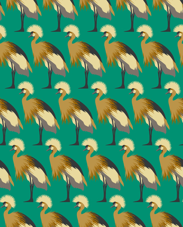 Abstract birds background, fashion seamless pattern, vector wallpaper, vintage fabric, creative graphic shadoof ornaments