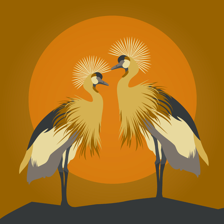 Beautiful vector pair of young gallant shadoofs. Cranes silhouettes against orange sun and moon.