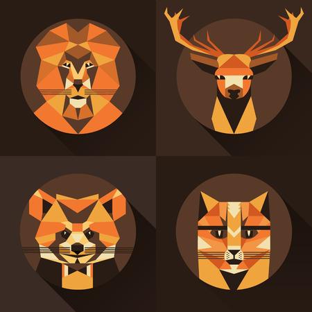 establecer plano de moda estilo bajo polígono Icono del animal avatar. Ilustración del vector. Gato, zorro, ciervos, leones, mapache Foto de archivo - 50432062