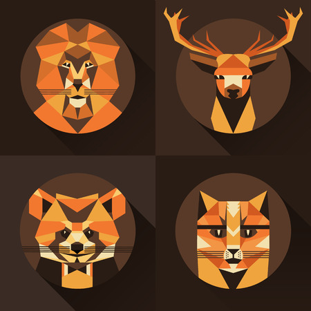 Flat trendy low polygon style animal avatar icon set. Vector illustration. Cat,fox, deer,lion, raccoon Imagens - 50432062
