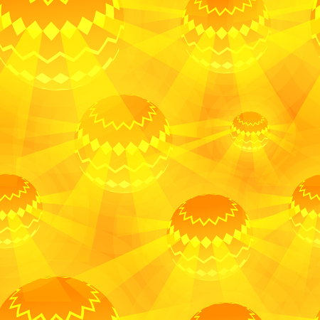 Disco Ball Orange Magic Seamless Pattern