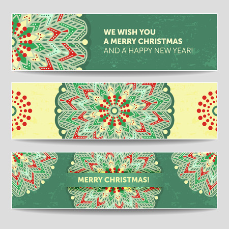Set of winter christmas banners. Stylized Mandala illustration with many details. Snowflake for christmas website, brochure, greeting, invitation or business card, cover, etc.