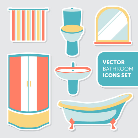 sanitary engineering: Colorful vector set of bathroom icons in modern flat style including toilet, shower, bath, sink, bathtub, mirror, curtain Illustration
