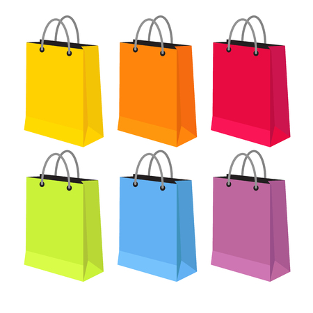 packets: Flat vector illustration of sale packets, shopping packets, shopping bags isolated on a white background