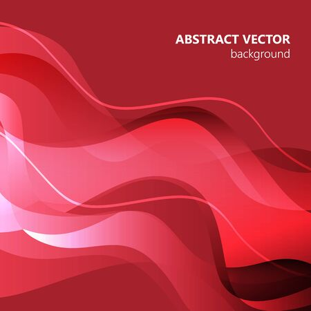 Red vector Template Abstract background with curves. For flyer, brochure, booklet and websites design