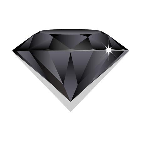 Black sapphire, brilliant on white background