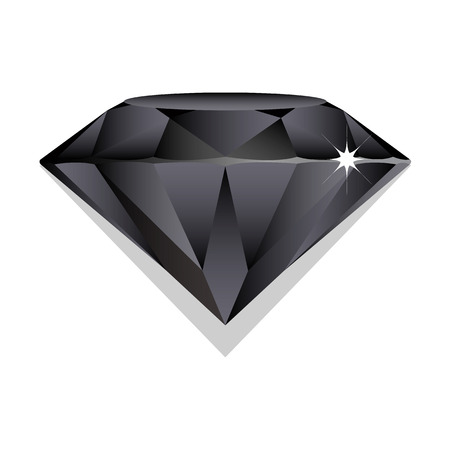 zafiro: Zafiro negro, brillante en el fondo blanco