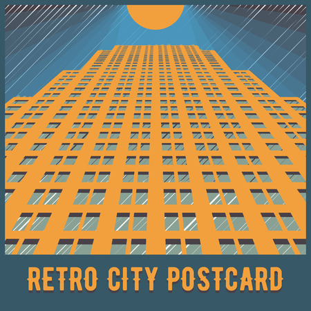 tall buildings: Vector urban retro postcard - skyscrapers and modern tall buildings - city illustration Illustration