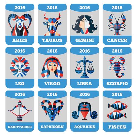 Vector pocket calendar with flat zodiac signs horoccope stars astrology. 일러스트