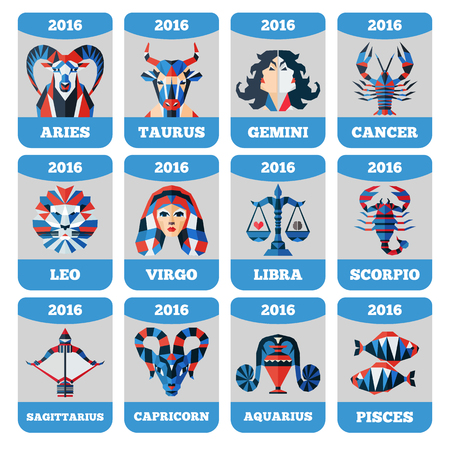 Vector pocket calendar with flat zodiac signs horoccope stars astrology. Çizim