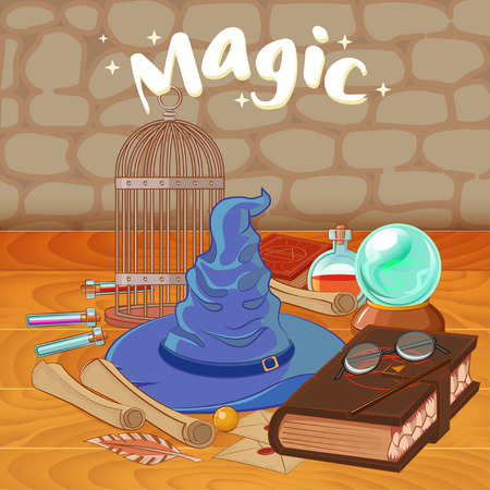 Set to play a wizard. Things magician: wizard, hat, magic book, roll, potion, broom, crystal ball, Golden Snitch. Different witch equipment in cartoon style. Ilustracja