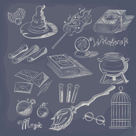 scrying: Chalk Set of Magic Related elements. Illustration