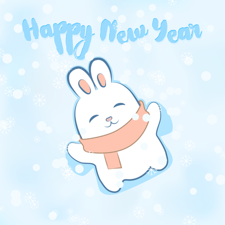 year of the rabbit: Greeting card with inscription - Happy New Year. Cute rabbit lying in the snow and making a snow angel. Cartoon character.