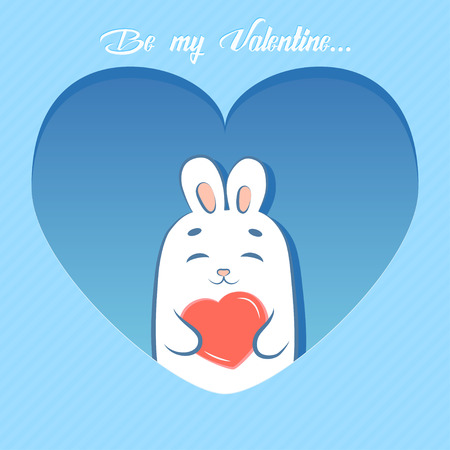 Valentines Day card. Cute rabbit holding heart that says be my Valentine. Cartoon style.