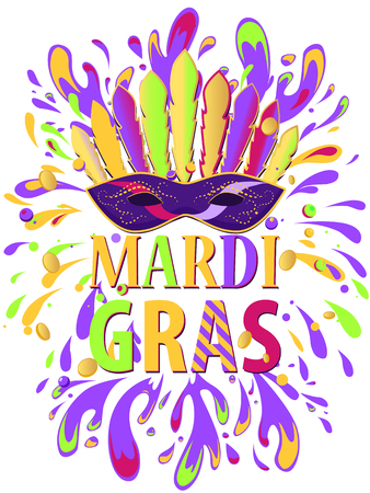 orleans symbol: Mardi Gras carnival background with masquerade mask with feathers, beads, spatter. Holiday poster or placard template.