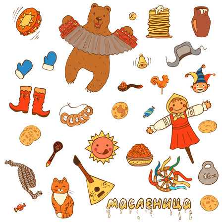 Maslenitsa. Set of Pancake week elements: pancake, bear, balalaika, drum, sun, scarecrow of winter, sour cream, candy, red caviar, balalaika, accordion. Russian inscription - Shrovetide. Cartoon style