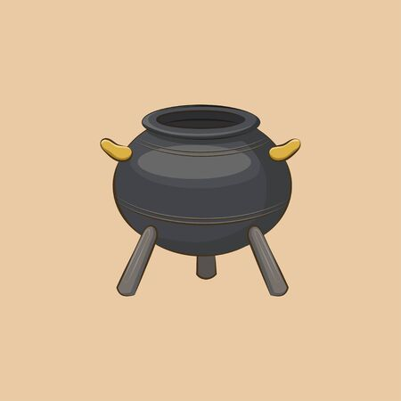 cast iron: Icon Magic cauldron. Witch equipment in cartoon style. Illustration
