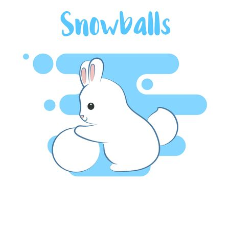 boule neige: Winter time. Rabbit makes snowball. Cartoon style.