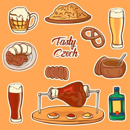 Czech Republic symbol. Testy Czech. Set of icons national dishes: cabbage, beer, boar knee, pretzel, goulash, beer mug, trdelnik. Ilustracja