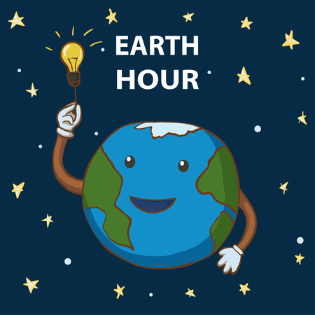 Earth hour. Cartoon earth globe turns out the lights. 25 march Illustration