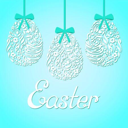 Easter card with inscription Easter. Easter eggs on blue background. Illustration